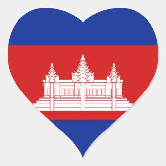 Cambodia Flag Heart Sticker