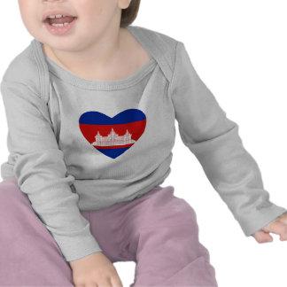 Cambodia Flag Heart T-Shirt