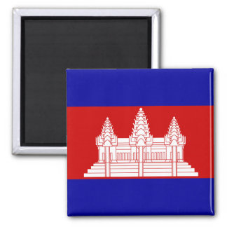 Cambodia Flag KH 2 Inch Square Magnet