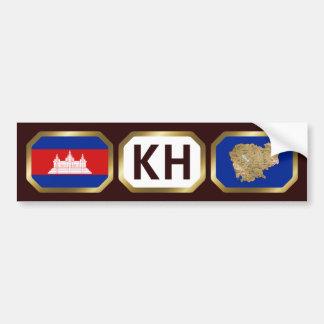 Cambodia Flag Map Code Bumper Sticker Car Bumper Sticker