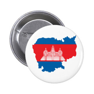 Cambodia Flag Map full size Pinback Button