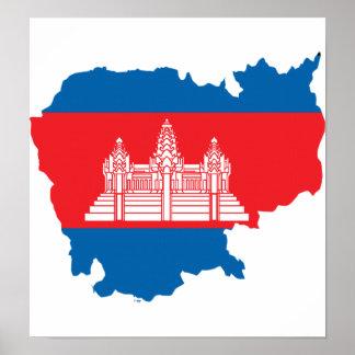 Cambodia Flag Map full size Print