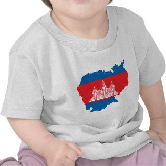 Cambodia Flag Map full size Tshirts