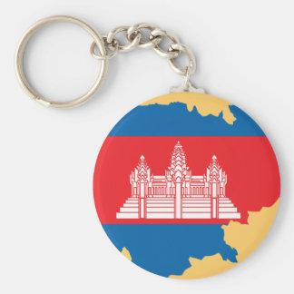 Cambodia flag map keychain