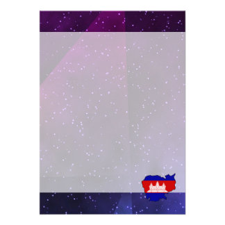 """cambodia Flag Map on abstract space background 5"""" X 7"""" Invitation Card"""