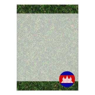 "Cambodia Flag on Grass 5"" X 7"" Invitation Card"