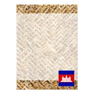 "Cambodia Flag on Textile themed 5"" X 7"" Invitation Card"