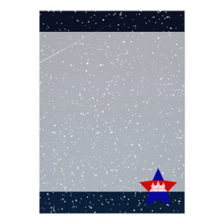 "Cambodia Flag Star In Space 5"" X 7"" Invitation Card"