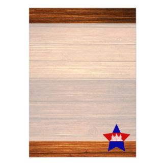 "Cambodia Flag Star on Wood 5"" X 7"" Invitation Card"