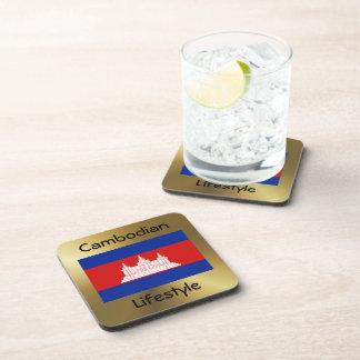 Cambodia Flag+Text Coaster