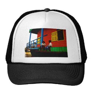 Cambodia floating village mesh hat