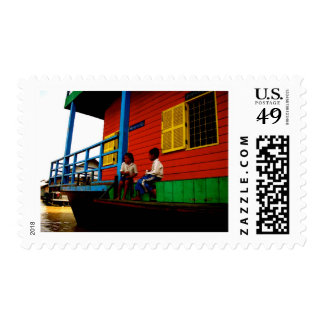 Cambodia floating village postage stamps