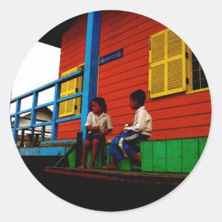 Cambodia floating village round stickers