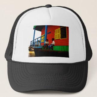 Cambodia floating village trucker hat