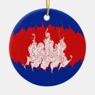 Cambodia Gnarly Flag Ceramic Ornament