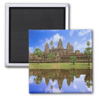 Cambodia, Kampuchea, Angkor Wat temple. 2 Inch Square Magnet