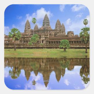 Cambodia, Kampuchea, Angkor Wat temple. Square Sticker