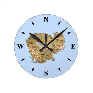 Cambodia Map Clock