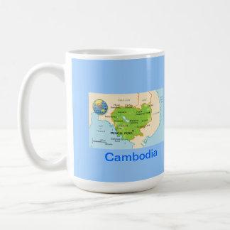 Cambodia map & flag coffee mug
