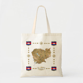 Cambodia Map + Flags Bag