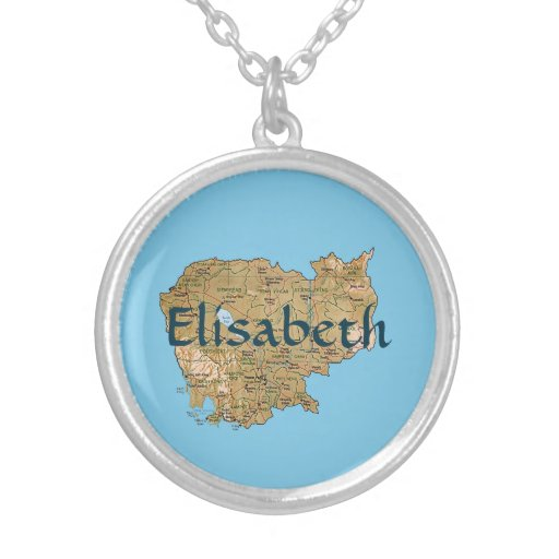 Cambodia Map + Name Necklace