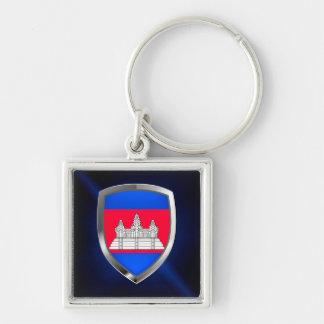 Cambodia Metallic Emblem Keychain