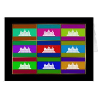 Cambodia Multihue Flags Greeting Card