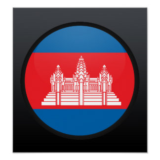 Cambodia quality Flag Circle Poster