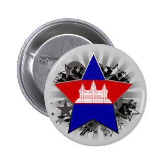 Cambodia Star 2 Inch Round Button