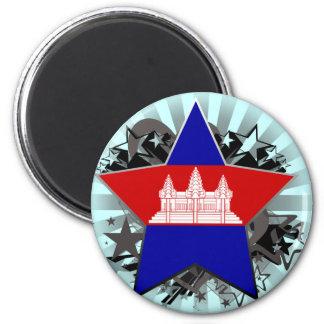Cambodia Star 2 Inch Round Magnet