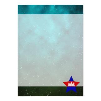 """Cambodia Star Design Flag 5"""" X 7"""" Invitation Card"""