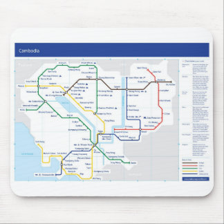 Cambodia tube map mouse mat