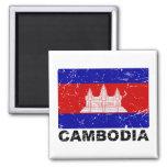 Cambodia Vintage Flag 2 Inch Square Magnet