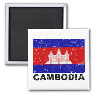Cambodia Vintage Flag 2 Inch Square Magnet