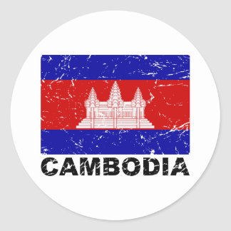 Cambodia Vintage Flag Classic Round Sticker