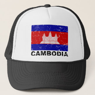 Cambodia Vintage Flag Trucker Hat