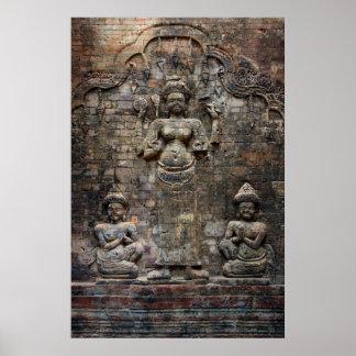 cambodian brick wall poster