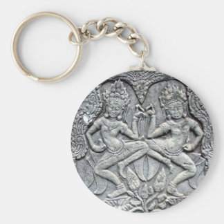 Cambodian dancers stone carving basic round button keychain