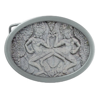 Cambodian dancers stone carving belt buckle