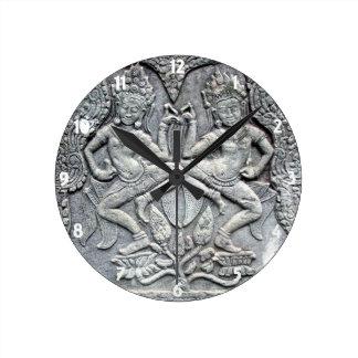 Cambodian dancers stone carving clock