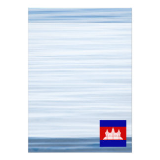 """Cambodian Flag Floating on water 5"""" X 7"""" Invitation Card"""