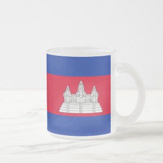 Cambodian flag frosted glass coffee mug