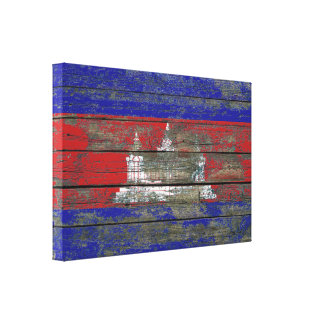 Cambodian Flag on Rough Wood Boards Effect Gallery Wrapped Canvas