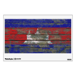 Cambodian Flag on Rough Wood Boards Effect Wall Sticker