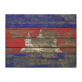 Cambodian Flag on Rough Wood Boards Effect Wood Print