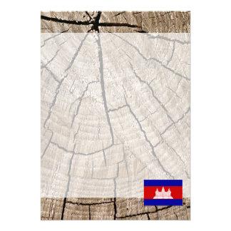 "Cambodian flag on tree bark 5"" x 7"" invitation card"