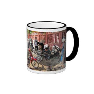 Cambodian Motorcycle Workshop 2 Ringer Coffee Mug