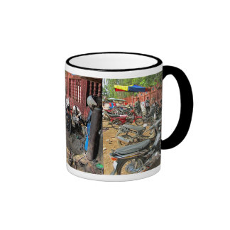 Cambodian Motorcycle Workshop Ringer Coffee Mug