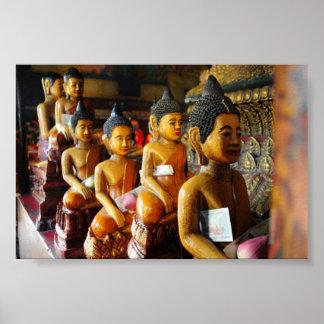 Cambodian sitting Buddhas Poster