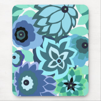 CAMBRIA, ART DECO FLORALS: TRENDY TURQUOISE MOUSE PAD
